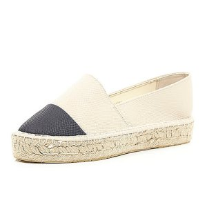 River Island Cream Black Toe Espadrilles £24.00